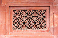 Fatehpur Sikri, Uttar Pradesh, India.  Geometric Islamic Design in Window Laticework, showing Interlocking Nonagons.