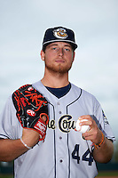 Kane County Cougars pitcher Cody Reed (44) poses for a photo before a doubleheader against the Cedar Rapids Kernels on May 10, 2016 at Perfect Game Field in Cedar Rapids, Iowa.  Kane County defeated Cedar Rapids 2-0.  (Mike Janes/Four Seam Images)
