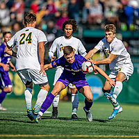 5 October 2019: University at Albany Great Dane Forward Bjarki Ragnar, a Sophomore from Reykjavik, Iceland, in action against the University of Vermont Catamounts at Virtue Field in Burlington, Vermont. The Catamounts fell to the visiting Danes 3-1 in America East, Division 1 play. Mandatory Credit: Ed Wolfstein Photo *** RAW (NEF) Image File Available ***