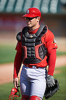 Peoria Chiefs coach Brian Pruitt (26) before a game against the Lansing Lugnuts on June 6, 2015 at Cooley Law School Stadium in Lansing, Michigan.  Lansing defeated Peoria 6-2.  (Mike Janes/Four Seam Images)