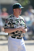 Slippery Rock head coach Jeff Messer during a game against Upper Iowa University at Frank Tack Field on March 14, 2014 in Clearwater, Florida.  Slippery Rock defeated Upper Iowa 14-9.  (Mike Janes/Four Seam Images)