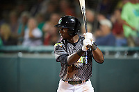 Daytona Tortugas center fielder Taylor Trammell (5) on deck during a game against the Jupiter Hammerheads on April 13, 2018 at Jackie Robinson Ballpark in Daytona Beach, Florida.  Daytona defeated Jupiter 9-3.  (Mike Janes/Four Seam Images)