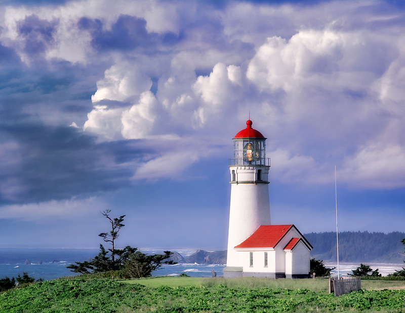 Cape Blanco Lighthouse with stormy sky. Oregon.