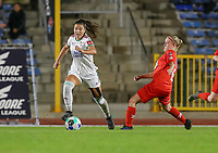Luna Vanzeir (10) of OHL and Jana Simons (8) of Woluwe in action during a female soccer game between FC Femina White Star Woluwe and Oud Heverlee Leuven on the fourth matchday in the 2021 - 2022 season of Belgian Scooore Womens Super League , Friday 10 th of September 2021  in Woluwe , Belgium . PHOTO SPORTPIX   SEVIL OKTEM