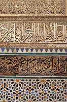 Fez, Morocco - Calligraphy, Stucco and Tile Work, Bou Inania Medersa, 14th Century.