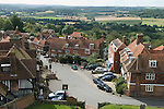Goudhurst Kent Uk. Looking down on top the village high street and across the Weald of Kent. 2016 2010s UK t.