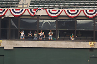 OAKLAND, CA - OCTOBER 1:  Oakland Athletics wives cheer from a luxury suite in center field against the Chicago White Sox during Wild Card Round Game Three at the Oakland Coliseum on Thursday, October 1, 2020 in Oakland, California. (Photo by Brad Mangin)