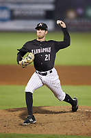 Kannapolis Intimidators relief pitcher Joe Mockbee (21) in action against the Hagerstown Suns at Kannapolis Intimidators Stadium on July 16, 2018 in Kannapolis, North Carolina. The Intimidators defeated the Suns 7-6. (Brian Westerholt/Four Seam Images)