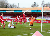 10th January 2021; Broadfield Stadium, Crawley, Sussex, England; English FA Cup Football, Crawley Town versus Leeds United; Glenn Morris goal keeper for Crawley watching his defender head away the crossed ball