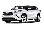 Stock pictures of low aggressive front three quarter view of a 2020 Toyota Highlander LE 5 Door SUV