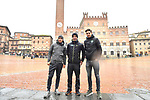 The press conference on the eve of the Strade Bianche and the Strade Bianche Women Elite featured last year's winner Michal Kwiatkowski (POL), Road World Champion Peter Sagan (SVK), Cyclocross World Champion Wout Van Aert (BEL) pictured in Piazza del Campo, Siena, Italy. 2nd March 2018.<br /> Picture: LaPresse/Massimo Paolone | Cyclefile<br /> <br /> <br /> All photos usage must carry mandatory copyright credit (© Cyclefile | LaPresse/Massimo Paolone)