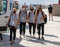 HERRIMAN, UT - JULY 8: Utah Royals FC Arrives at the field during a game between OL Reign and Utah Royals FC at Zions Bank Stadium on July 8, 2020 in Herriman, Utah.