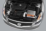 High angle engine detail of a 2009 Nissan Altima Hybrid.