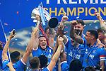 15.05.2021 Rangers v Aberdeen: Ryan Kent with the SPFL Premiership league trophy