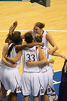 10 March 2008: Stanford Cardinal (not in order) Jayne Appel, Kayla Pedersen, Candice Wiggins, Jillian Harmon, and JJ Hones during Stanford's 56-35 win against the California Golden Bears in the 2008 State Farm Pac-10 Women's Basketball championship game at HP Pavilion in San Jose, CA.