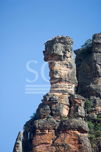 Mato Grosso, Brazil. Near  Canarana, Cacique (chief) rock formation, also known as The Guardian, in the Serra do Roncador.