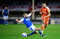 Blackpool's CJ Hamilton is fouled by Peterborough United's Dan Butler<br /> <br /> Photographer Chris Vaughan/CameraSport<br /> <br /> The EFL Sky Bet League One - Peterborough United v Blackpool - Saturday 21st November 2020 - London Road Stadium - Peterborough<br /> <br /> World Copyright © 2020 CameraSport. All rights reserved. 43 Linden Ave. Countesthorpe. Leicester. England. LE8 5PG - Tel: +44 (0) 116 277 4147 - admin@camerasport.com - www.camerasport.com