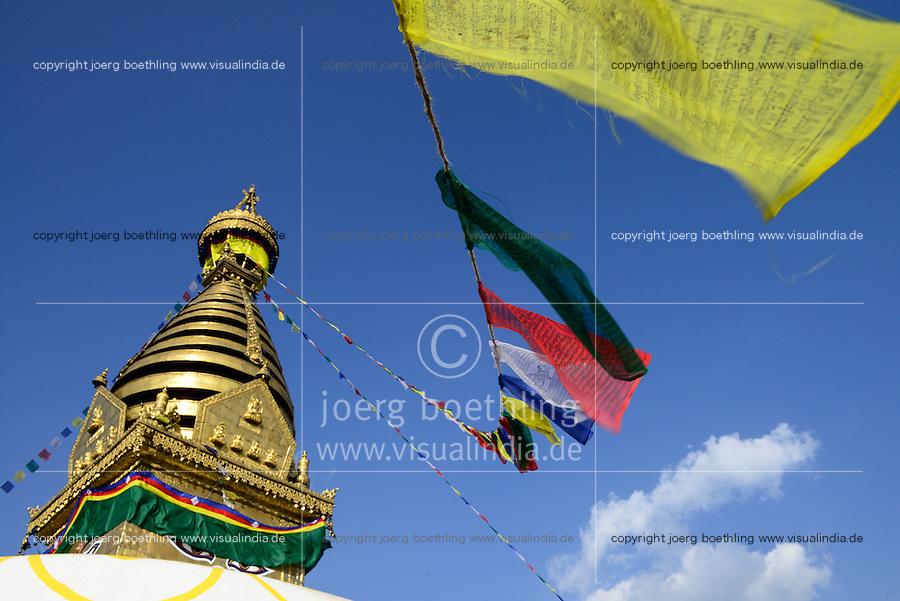 NEPAL Kathmandu, buddhist Swayambhu Stupa and prayer flags