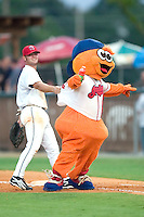 Burlington Indians mascot Bingo is held up at first base by Boodle Clark as he races a young fan around the bases between innings at Burlington Athletic Park in Burlington, NC, Saturday, July 29, 2006.  The Indians defeated the Blue Jays by the score of 8-4.