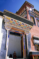 Colorful tiles decorate the entrance to the Thikse Monastery, Ladakh, India.