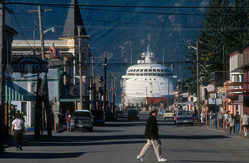 A cruise ship becomes part of the summer skyline in Skagway, Alaska.