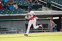 Tennessee Smokies center fielder Christopher Morel (11) jogs home against the Rocket City Trash Pandas at Smokies Stadium on July 2, 2021, in Kodak, Tennessee. (Danny Parker/Four Seam Images)