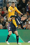 FC Barcelona's Jordi Alba (l) and  Atletico de Madrid's Fernando Torres during Champions League 2015/2016 match. April 5,2016. (ALTERPHOTOS/Acero)