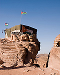 """""""View"""" -- A bedouin businessman has set up a tent to house his jewelry shop at the highest overlook point, beyond the """"monestary"""" at the top of Petra.  © Rick Collier"""