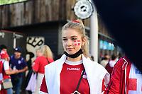 7th July 2021, Wembley Stadium, London, England; 2020 European Football Championships (delayed) semi-final, England versus Denmark;  Danish fan outside the stadium