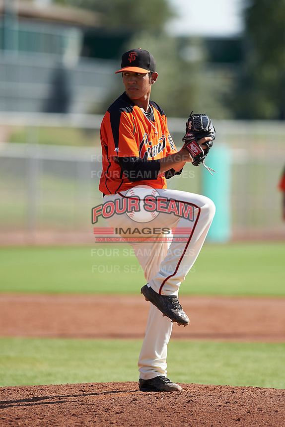 San Francisco Giants pitcher Deiyerbert Bolivar (34) during an instructional league game against the Oakland Athletics on October 12, 2015 at the Giants Baseball Complex in Scottsdale, Arizona.  (Mike Janes/Four Seam Images)
