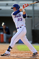 Kingsport Mets right fielder Jeff Diehl #23 swings at a pitch during a game against the Elizabethton Twins at Hunter Wright Stadium on June 29, 2013 in Kingsport, Tennessee. The Mets won the game 5-4. (Tony Farlow/Four Seam Images)