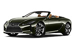 Stock pictures of low aggressive front three quarter view of 2021 Lexus LC-Convertible 500 2 Door Convertible Low Aggressive