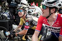 Dylan Groenewegen (NED/Jumbo-Visma) listening to teammate and race winner Pascal Eenkhoorn's story post-race<br /> <br /> Heylen Vastgoed Heistse Pijl 2021 (BEL)<br /> One day race from Vosselaar to Heist-op-den-Berg (BEL/193km)<br /> <br /> ©kramon