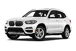 Stock pictures of low aggressive front three quarter view of a 2019 BMW X3 Base 5 Door SUV