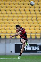 Fergus Burke of Canterbury kicks the ball during the Bunnings NPC - Wellington v Canterbury at Sky Stadium, Wellington, New Zealand on Friday 8 October 2021.<br /> Photo by Masanori Udagawa. <br /> www.photowellington.photoshelter.comto