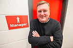 © Joel Goodman - 07973 332324 . 14/11/2015 . Manchester , UK . Manager KARL MARGINSON pre-match , outside the manager's office . FC United host Gainsborough Trinity in the National League North at Broadhurst Park . NB requested changing room access three times and was denied three times . Photo credit : Joel Goodman