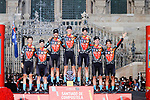 Bahrain Victorious win the team classification at the end of Stage 21 final stage of La Vuelta d'Espana 2021, an individual time trial running 33.8km from Padron to Santiago de Compostela, Spain. 5th September 2021.    <br /> Picture: Luis Angel Gomez/Photogomezsport | Cyclefile<br /> <br /> All photos usage must carry mandatory copyright credit (© Cyclefile | Luis Angel Gomez/Photogomezsport)