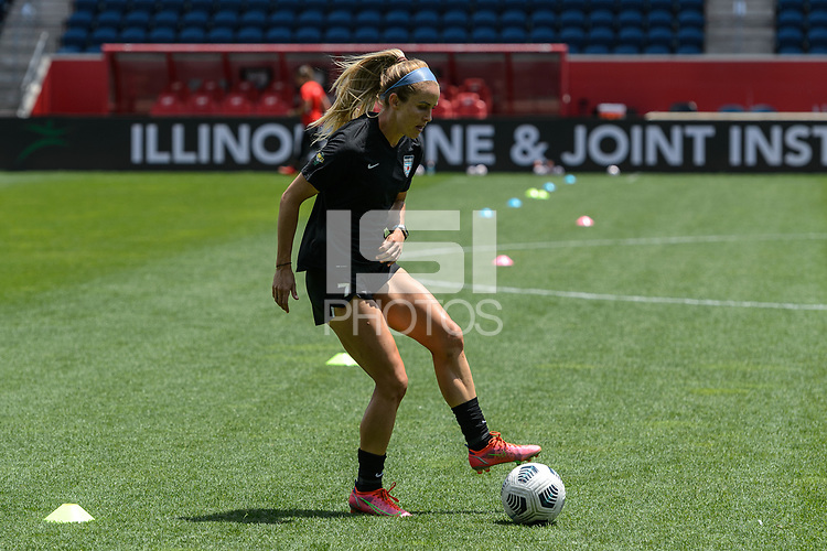BRIDGEVIEW, IL - JUNE 5: Nikki Stanton #7 of the Chicago Red Stars warms up before a game between North Carolina Courage and Chicago Red Stars at SeatGeek Stadium on June 5, 2021 in Bridgeview, Illinois.