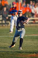 Mallard Creek Mavericks third baseman Konni Durschlag (16) makes a throw to first base against the Glenn Bobcats at Dale Ijames Stadium on March 22, 2017 in Kernersville, North Carolina.  The Bobcats defeated the Mavericks 12-2 in 5 innings.  (Brian Westerholt/Four Seam Images)