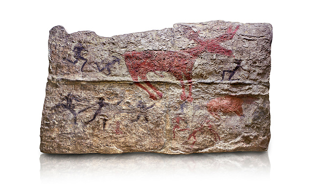 Fresco of human figures around a deer. None of the figures carry weapons and some a dressed in leopard costumes. The figures seem to be trying to hold on or touch the deer amd one figure appears to be holding its tongue. 6000 BC, Catalhoyuk Collections. Museum of Anatolian Civilisations, Ankara. Against a white background