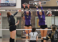 Kennedy Phelan (4) and Sophie Snodgrass (10) of Fayetteville go up for block against Maddie Lee (23) of Bentonville Thursday, Oct.  7, 2021, during play at Tiger Arena in Bentonville. Visit nwaonline.com/211008Daily/ for today's photo gallery.<br /> (Special to the NWA Democrat-Gazette/David Beach)