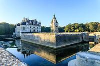 France, Indre-et-Loire (37), Chenonceaux, château et jardins de Chenonceau, la cour et la tour des Marques
