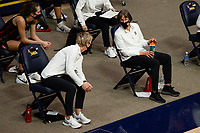 BERKELEY, CA - DECEMBER 13: Head coach Tara VanDerveer of the Stanford Cardinal talks with associate head coach Kate Paye during a game between University of California-Berkeley and Stanford Women's Basketball at Haas Pavilion on December 13, 2020 in Berkeley, California.