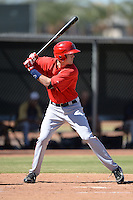 Los Angeles Angels shortstop Alex Allbritton (9) during an Instructional League game against the Milwaukee Brewers on October 11, 2013 at Tempe Diablo Stadium Complex in Tempe, Arizona.  (Mike Janes/Four Seam Images)