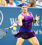 Svetlana Kuznetsova (RUS) wins over Eugenie Bouchard (CAN) at the Western & Southern Open in a three set match by 64 36 62 in Mason, OH on August 13, 2014.
