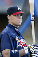 Chipper Jones of the Atlanta Braves before a 2002 MLB season game against the Los Angeles Dodgers at Dodger Stadium, in Los Angeles, California. (Larry Goren/Four Seam Images)