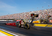 Sep 6, 2020; Clermont, Indiana, United States; NHRA top fuel driver Leah Pruett (near) defeats Tony Schumacher during the US Nationals at Lucas Oil Raceway. Mandatory Credit: Mark J. Rebilas-USA TODAY Sports