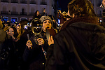 Women protest with saucepan at Puerta del Sol for the Women's International Day in Madrid , Spain. March 08, 2018. (ALTERPHOTOS/Borja B.Hojas)