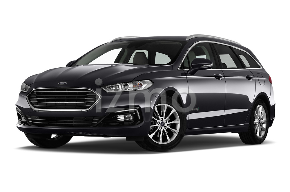 Stock pictures of low aggressive front three quarter view of a 2019 Ford Mondeo Clipper Hybrid 5 Door Wagon