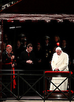 Papa Francesco celebra la Via Crucis al Colosseo, Roma, 18 aprile 2014.<br /> Pope Francis celebrates the Via Crucis (Way of the Cross) torchlight procession at the Colosseum, Rome, 18 April 2014.<br /> UPDATE IMAGES PRESS/Isabella Bonotto<br /> <br /> STRICTLY ONLY FOR EDITORIAL USE